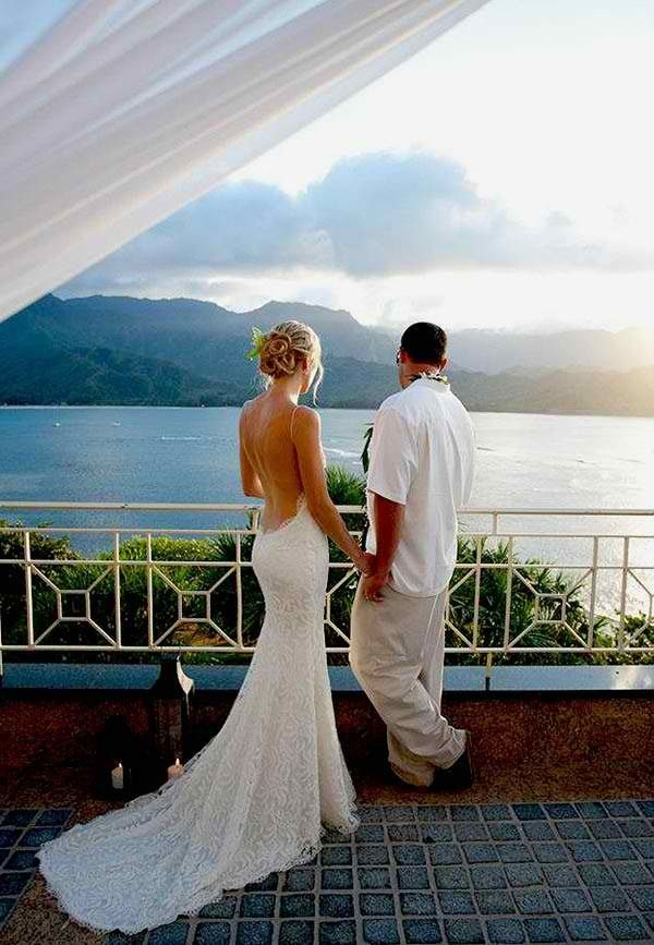 That back.. Amazing beach wedding dress for next year!  @Wendy Werley-Williams.katiemay.com