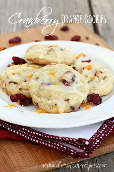 Cranberry Orange Cookies Recipe   A soft baked Christmas cookie with orange zest and dried cranberries.