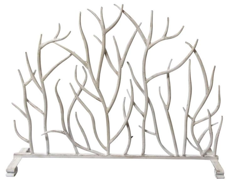 "FIREPLACE SCREENS - ""SHERWOOD FOREST"" DECORATIVE FIRE SCREEN - ANTIQUE WHITE #KensingtonRowHomeCollection #Transitional"