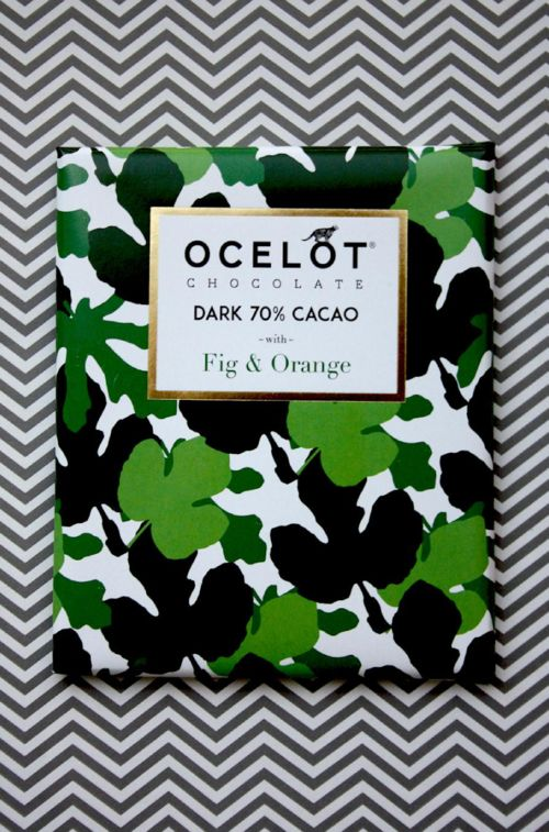 OCELOT Fig & Orange (dark chocolate 70% Cacao), Scottish brand, organic chocolate. Another brand proving how serious they're taking the business of achieving pretty posh packaging for chocolates... Just WAW!