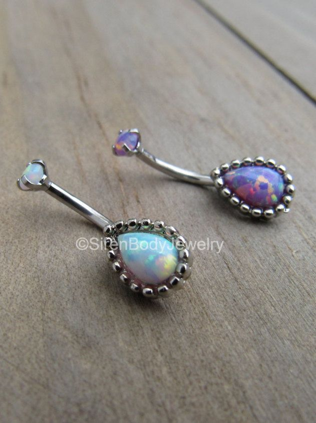 You've got to have one of these! $29.99+S&H Teardrop opal rook piercing curved barbell 16g silver stainless steel eyebrow piercing ring vertical labret body jewelry rings daith earring by SirenBodyJewelry on Etsy