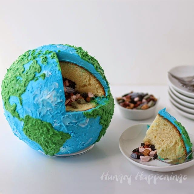 Earth Cake filled with Candy Rocks to celebrate Earth Day by Hungry Happenings