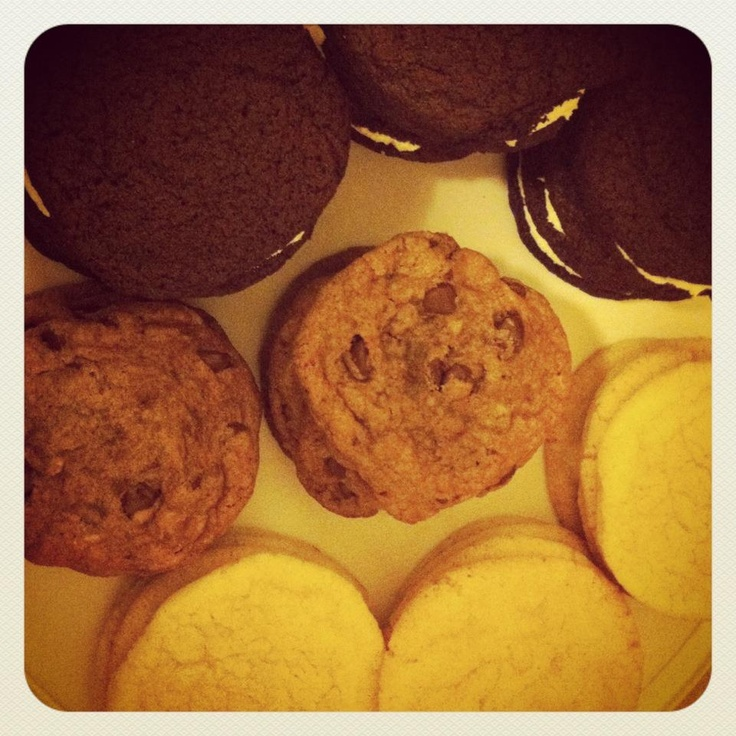 Oreos, chocolate chip toffee and lemon sugar cookies.