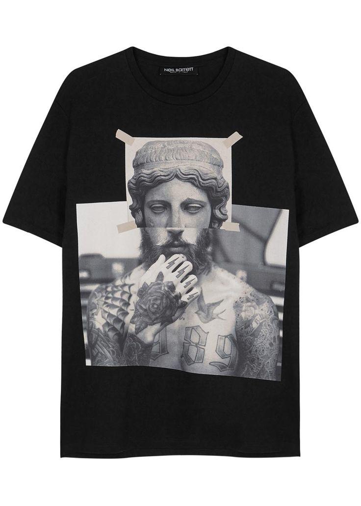 Neil Barrett black cotton T-shirt Printed front, designer stamp at back Slips on 100% cotton