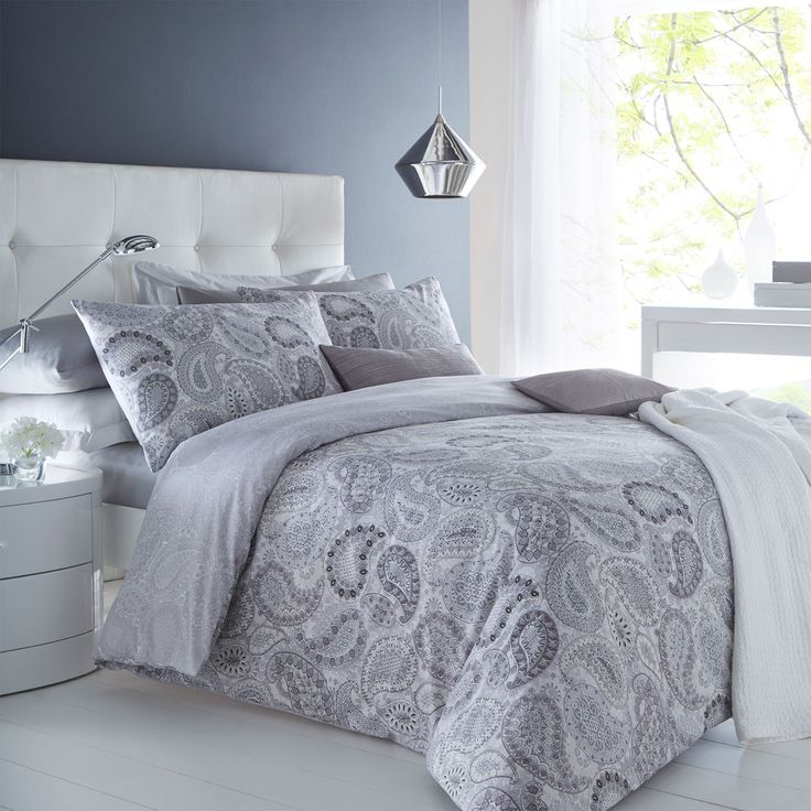 Paisley Grey Duvet Cover Pillowcase Set Reversible Bedding Single Double King | eBay