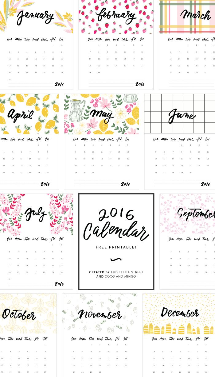 Download our free printable 2016 calendar - artwork by This Little Street and hand-lettering Coco + Mingo.