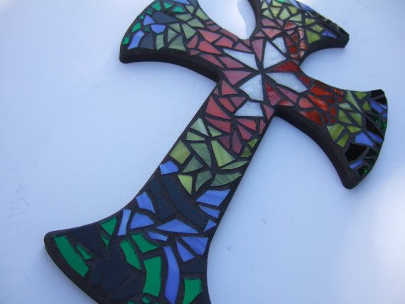 Mosaic Cross, Rainbow Multicolored Handmade Stained Glass Mosaic Design, 12 inches long  x 8 inches wide