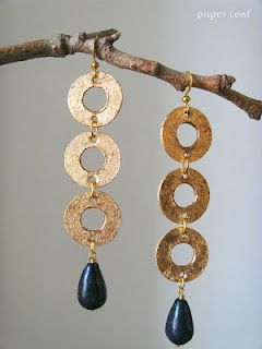 Feronia - handmade paper earrings with lapislazzuli beads