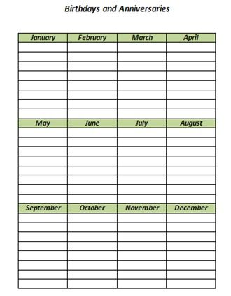 Keeping Track of Birthdays with a free printable for the refrigerator