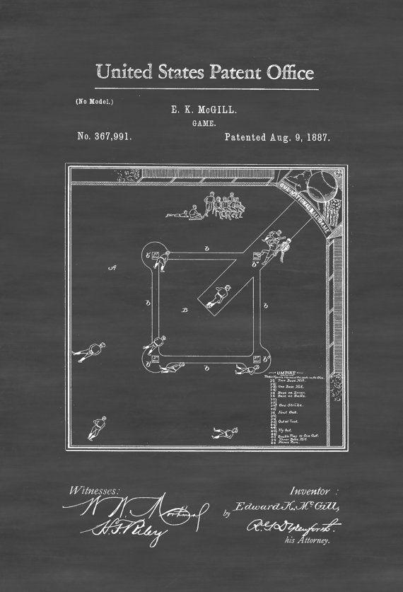 Baseball Game Patent Patent Print Wall Decor by PatentsAsPrints