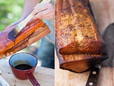 Helgrillad lax på björkträ med ärtguacamole | salmon grilled on birch wood |  (Grilla lax på björkträ. Blötlägg träbiten först så kan den ligga direkt på glöden och sedan fungera som tallrik vid serverin. Recept från kokboken Tina - hur du enkelt lagar min godaste mat.)