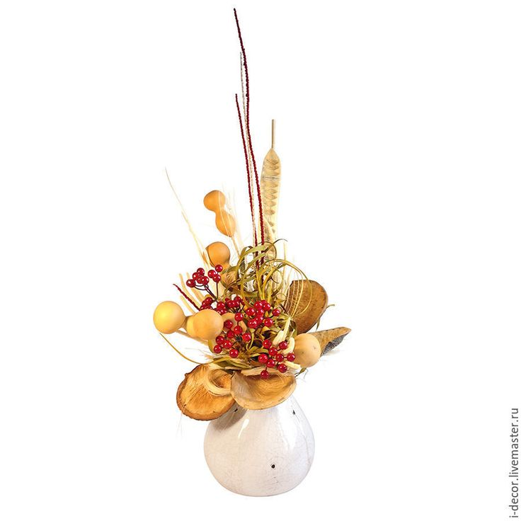 Купить Интерьерная композиция из сухоцветов. Ягоды в Ракульской коллекции. - бежевый, интерьерная композиция, сухоцветы