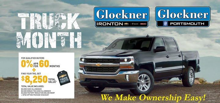 June is Chevy Truck Month! Chevrolet is running a Truck Month promotion that offers zero percent financing for 60 months plus up to $8250 in cash on some vehicles including the 2016 Silverado 1500 Crew Cab LT 4WD. Take advantage of this great deal! Stop in for a test drive or visit us at Glockner.com where We Make Ownership Easy!