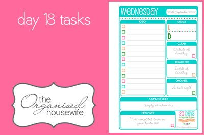 {The Organised Housewife} 20 Days to Organise & Clean your home - Day 18
