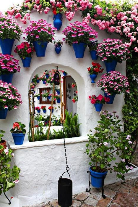 Wall Flowers..Outdoor Inspiration, Windows Gardens, Wall Flower, Floral Courtyards, Patios, Wallflower, Flowers, Dreams Gardens, Wall Gardens