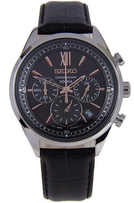 Montre Homme Seiko SSB159P1, boîtier acier et bracelet en cuir noir, cadran noir, fonction chronographe et date.