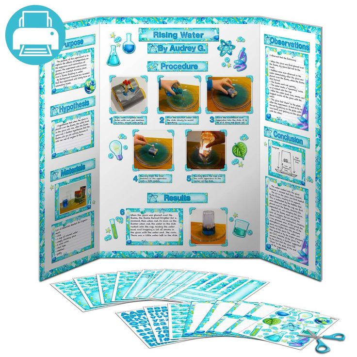 The Science Fair display board above can be created with this pack of printable decorations. The file contains all of the pages shown, just cut out the pieces and glue to your board. The decorations are science themed, with a laboratory motif. Bubbling beakers, scintillating test tubes and dazzling atoms adorn the pieces in this pack. Titles are included for Purpose, Materials, Hypothesis, Results and Conclusion. Use the alphabet to create any additional titles you want.