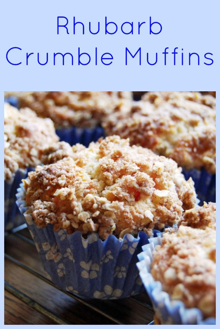Rhubarb Crumble Muffins - Moist and tart underneath, crunchy, sweet crumble on top!