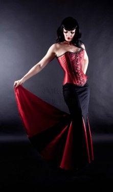 Black & red satin mermaid skirt - SO HAWT!!!