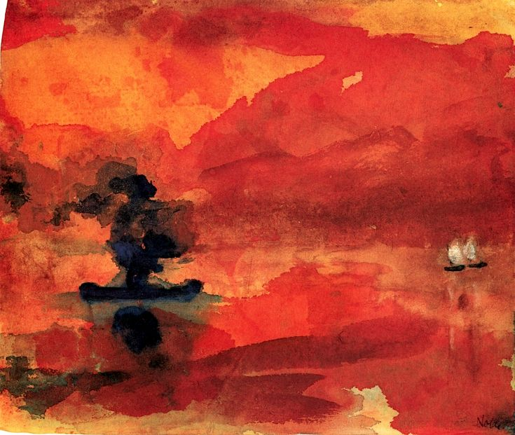 Red Sea with Steamship and Two Small Sailboats Emil Nolde - 1946