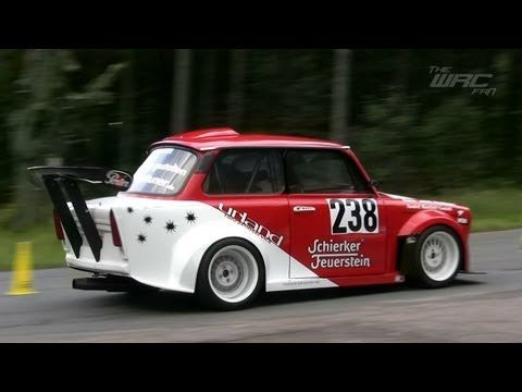 Urland Trabant 601 S Sedan with a mid-engine Honda H22 Motor  This particular race version was born a third-generation Trabant 601 S. It now has a rear mid-engine 2.2 L Honda H22 engine that produces around 270 horsepower. Since the car only weighs 866 kg (1,909 lb), it can go 0-100 kph (0-62 mph) in 3.2 seconds.