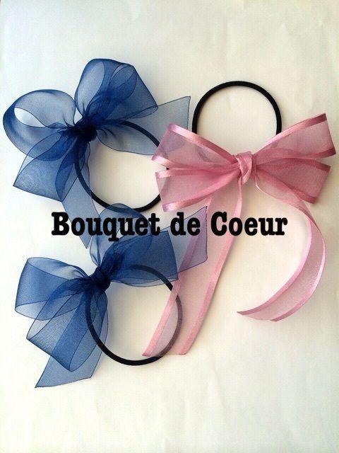 ハンドメイドリボンアクセサリー♡オーダーメイド品♡ネイビー&ピンク♡handmade navy and pink ribbon accessory
