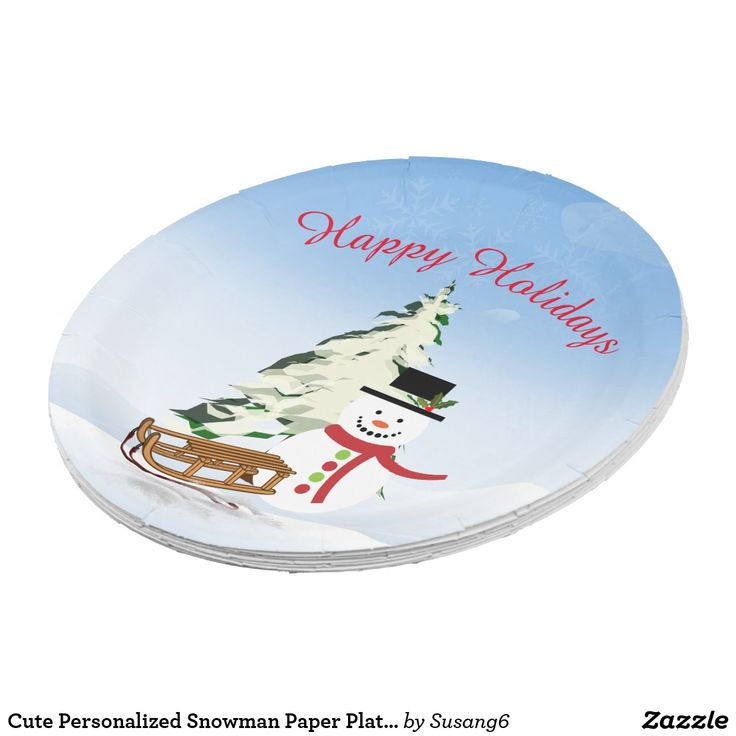 Cute Personalized Snowman Paper Plate - 9 inch  sc 1 st  Pinterest & 96 best Paper Plates Cups and Napkins images on Pinterest | Paper ...
