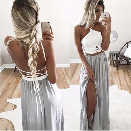 Two piece Lace back Prom Dress,Long Chiffon Evening Dresses ,Formal Dresses,Slit Side Evening Dress