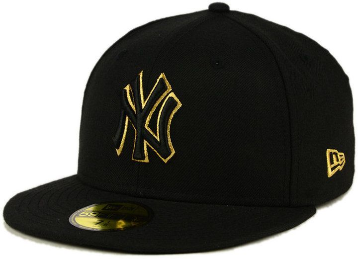 New Era New York Yankees Black On Metallic Gold 59fifty Fitted Cap Hats For Men New York Yankees Cap