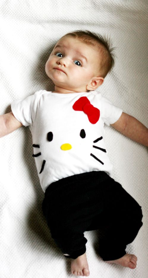 diy babys halloween costume hello kitty use this print on a white shirt for - Baby Cat Halloween Costume