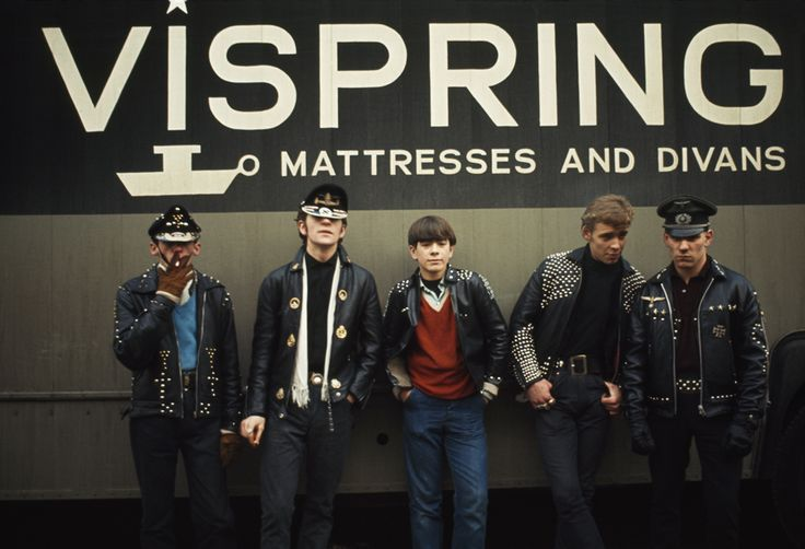 Motorcycle club members wear studded leather jackets and rakish caps in London, England, June 1966.Photograph by James P. Blair, National Geographic