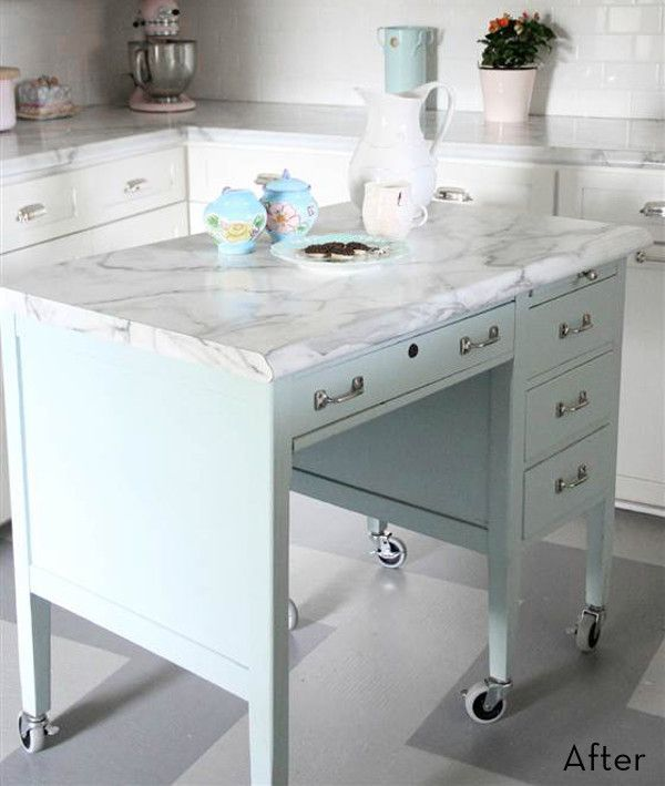 Before And After: An Old Desk Becomes A DIY Kitchen Island