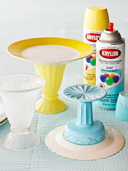 DIY Cake stand cup plate spray paint and glue. Good way to & 49 best Home - plates bowls u0026 serving plates images on Pinterest ...