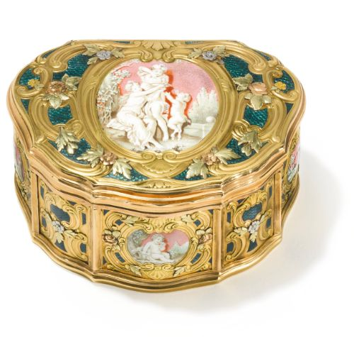 varicolor gold and enamel snuff box, French or Swiss, 19th century