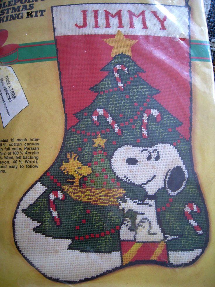 Christmas Malina Needlepoint Stocking Kit,TRIM A TREE,Snoopy,Woodstock,8500/003 #Malina