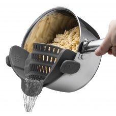 Silicone Food Strainer Snap'n Strainer Colander No-hands No-Fuss Clip-On Strainer. Fits all Pot SizesSilicone Food Strainer Snap'n Strainer Colander No-hands No-Fuss Clip-On Strainer. Fits all Pot Sizes