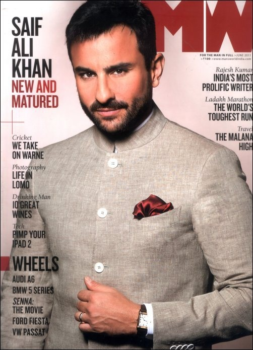 The grey Nehru Jacket spells understated elegance. And the touch of red is a great idea. ---- Saif Ali Khan in an simple #indian #wedding outfit