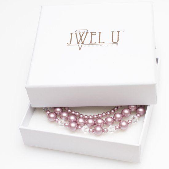 JwelU Armbanden - Poeder Roze Parels met Kristallen - Swarovski