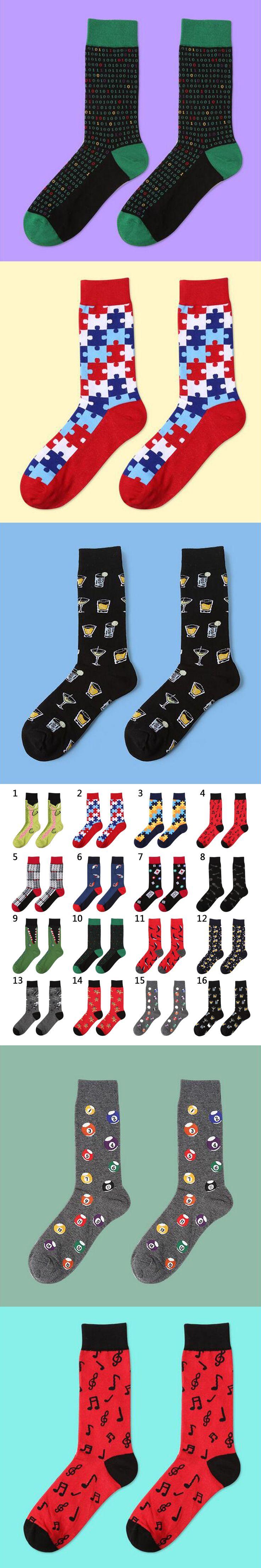 Hot 39-44 Socks Brand Women Men's Novelty Socks Combed Cotton Christmas Gift Chausettes Homme Animal Puzzle Design Funny Socks