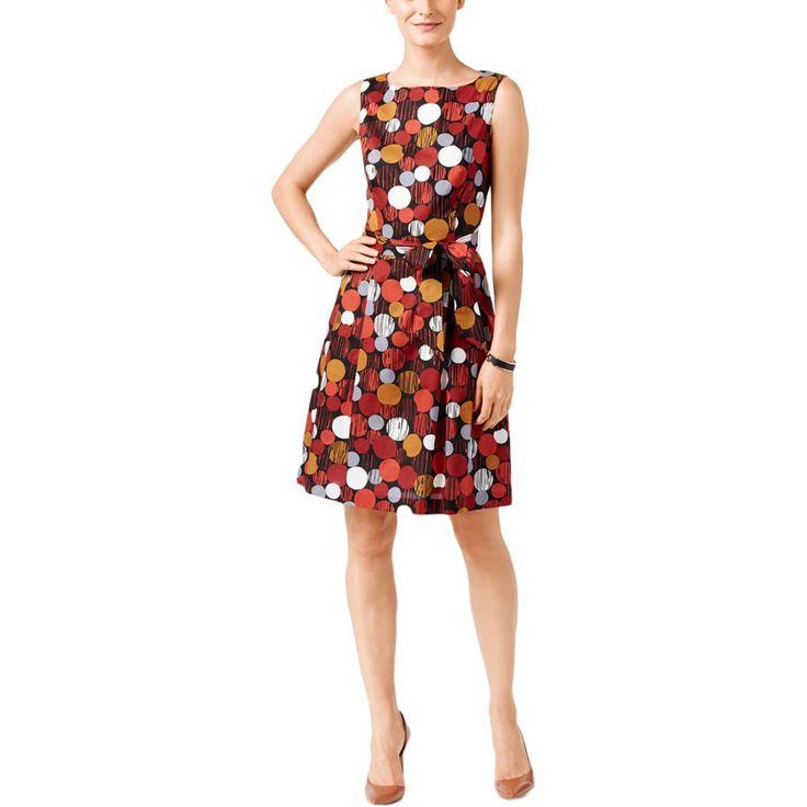Anne Klein Womens Polka Dot A-line Wear to Work Dress