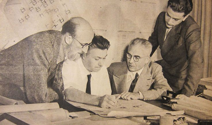 Bruno Buongiovannini, Mario Ridolfi, Pier Luigi Nervi and Bruno Zevi at work on the USIS-funded Manuale dell'architetto. Nuovo Mondo, 1946