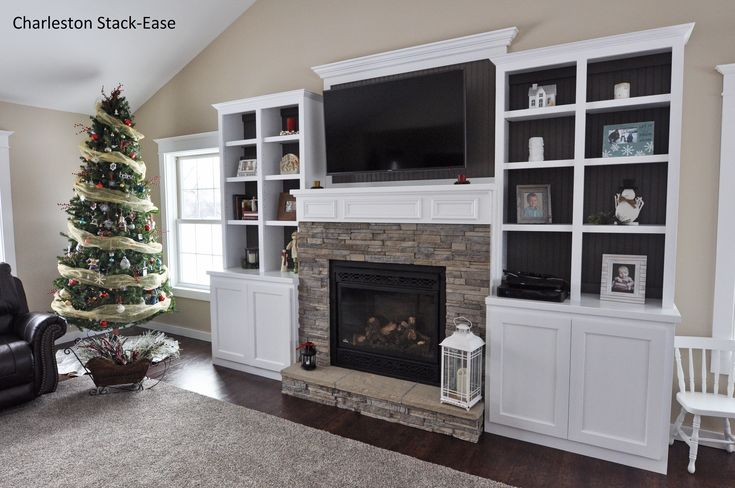 Stoned Fireplace with Built-ins. Charleston Stack-Ease J&N Stone