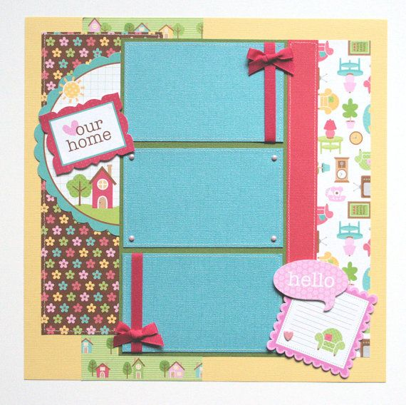scrapbook pages - Home is Where the Heart is - New home scrapbook pages - 2 page, 12x12 premade scrapbook layout
