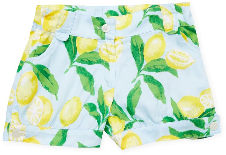 Oscar de la Renta Painted Lemons Cotton Cute Shorts