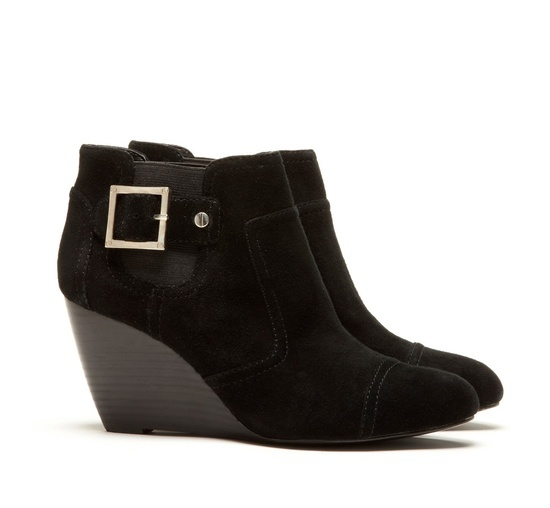 Heather Buckle Wedge Bootie.