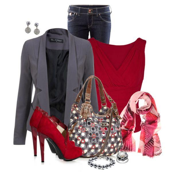 С чем носить красные ботильоны: серый пиджак
