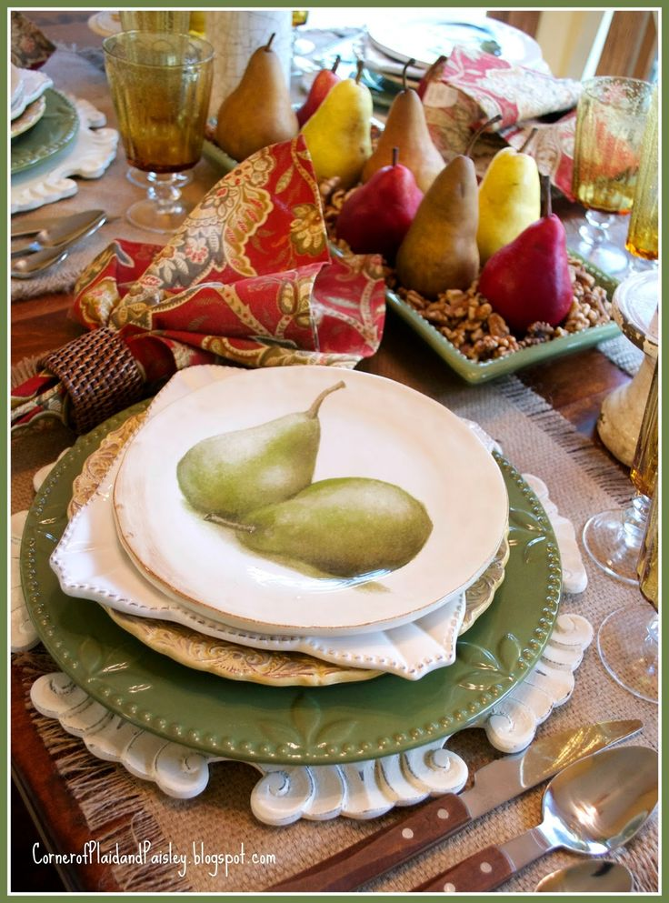 Corner of Plaid and Paisley: Pear Tablescape- the start of Fall