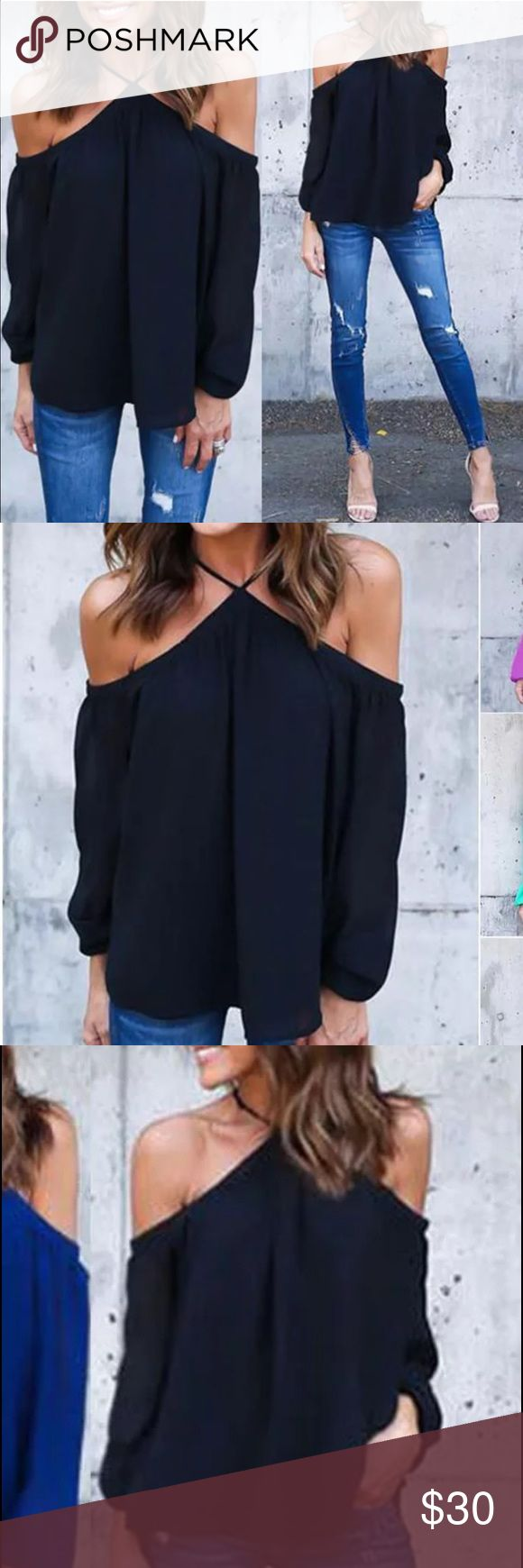 HOT BLACK OPEN SHOULDER CHIFFON TOP Black chiffon blouse - super trendy and great for any occasion! HOT item!! ----  necktie is stretch--- run small Tops Blouses