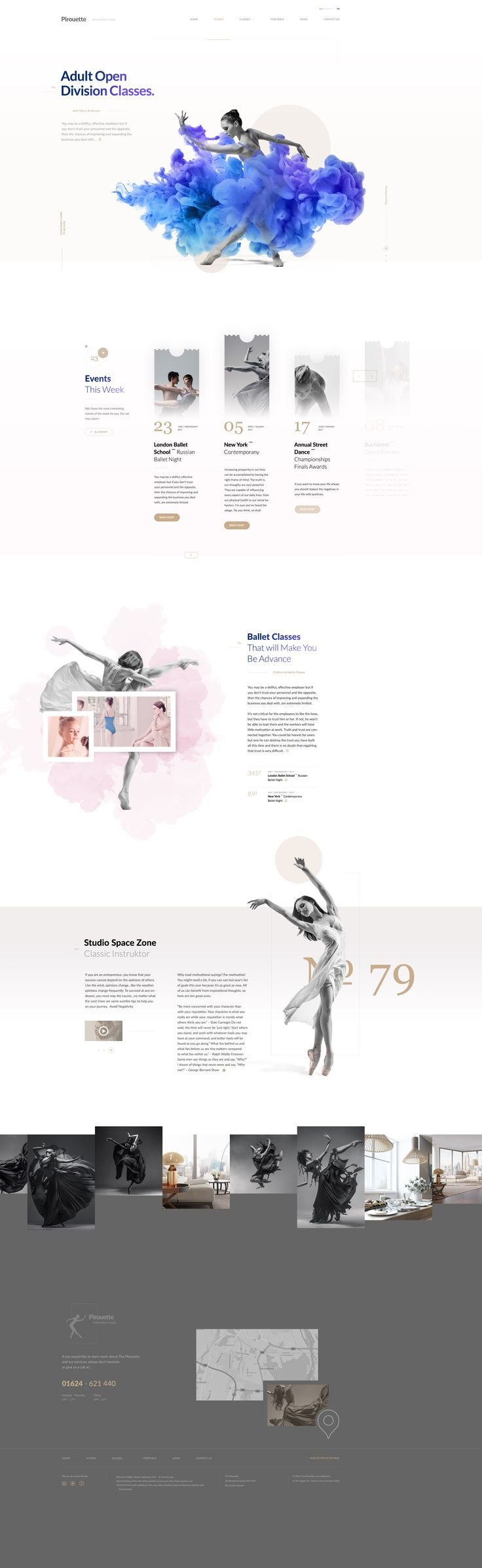 Together with @Radu Cretu we are building a beautiful WordPress Theme for dance classes. We are are now in the landing page area still trying new blocks and variants, but i wanted to share with you the results so far. Will post a link with the finish theme soon. All rights go to Curly Themes. https://dribbble.com/shots/2820651-Pirouette-Dance-Theme