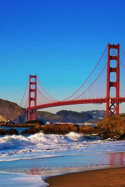 Baker Beach, located south of Golden Gate Point, in San Francisco, is the perfect mix of sand, sea spray, and, of course, frequent fog.